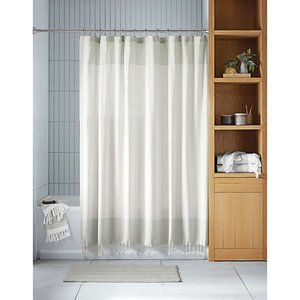 Two Tone Organic Cotton Extra Long Shower Curtain